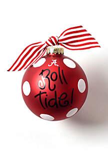 Alabama Glitter Dot Glass Ornament