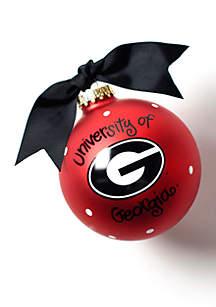 Georgia Logo Glass Ornament