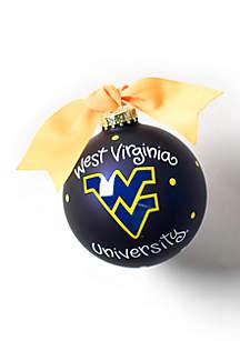 West Virginia Logo Glass Ornament