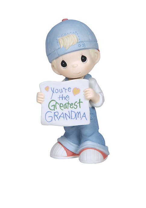 Precious Moments Boy Holding Greatest Grandma Sign Figurine