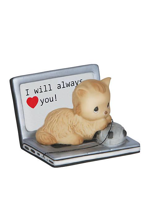 Precious Moments Cat On Laptop Figurine