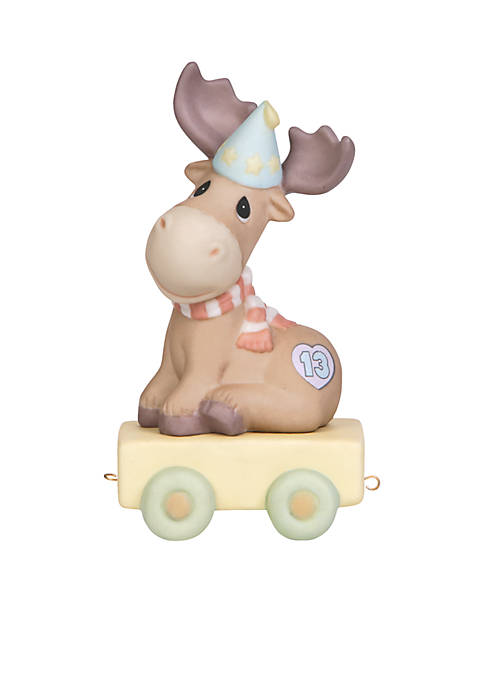 Birthday Train Moose Age 13 Figurine