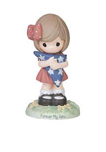 Girl Holding American Flag Figurine
