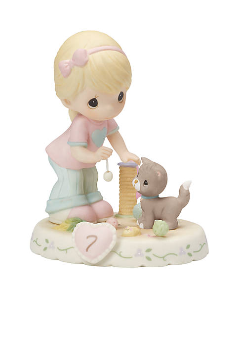 Blonde Girl With Kitten And Toys Age 7 Figurine