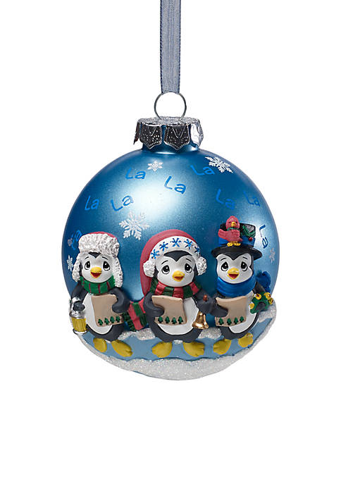 Precious Moments Caroling Penguins Glass Ball Ornament With