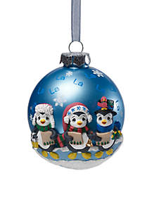 Caroling Penguins Glass Ball Ornament With Resin Decorations