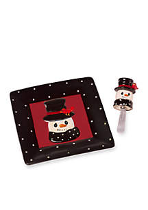 Snow Much Fun by Precious Moments Snowman Cheese Plate And Spreader