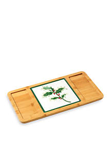 Celebrations by Precious Moments Bamboo Serving Tray with Glass Holly Cutting Board/Trivet