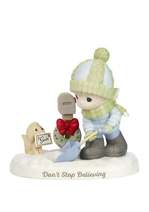 Precious Moments Boy Shoveling Snow By Mailbox Figurine