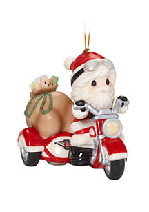 Santa On Motorcycle With Sidecar Ornament