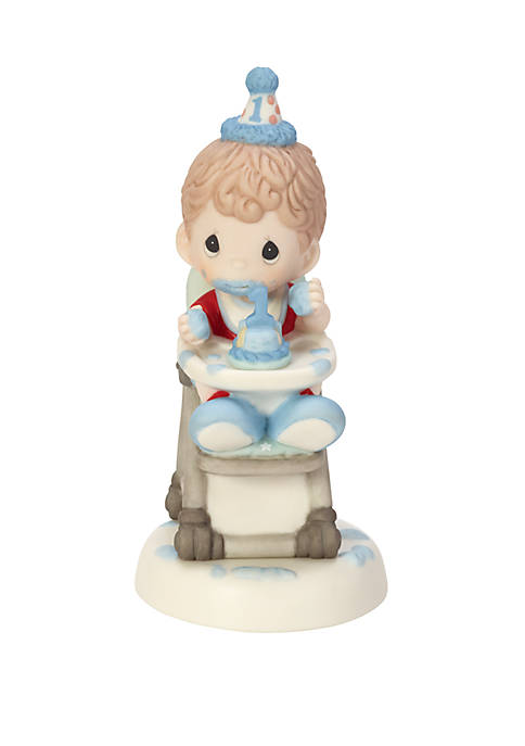 Precious Moments Baby Boy's First Birthday Bisque Porcelain