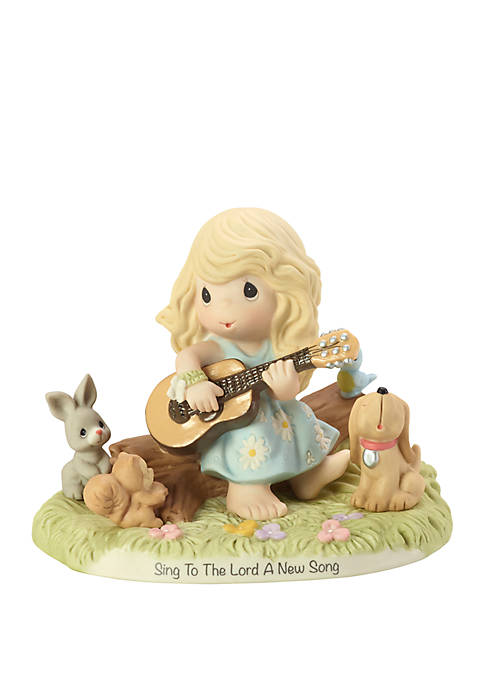 Sing To The Lord A New Song Bisque Porcelain Girl With Guitar And Animals Figurine
