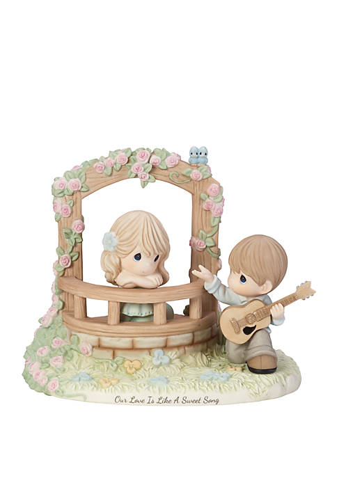 Limited Edition Our Love Is Like A Sweet Song Bisque Porcelain Loving Couple With Guitar Figurine