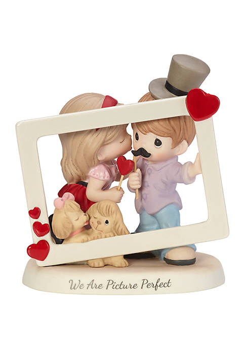 We Are Picture Perfect Bisque Porcelain Loving Couple Picture Frame Figurine