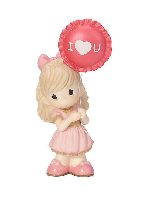 You Make My Heart Smile Bisque Porcelain Girl With Balloon Figurine