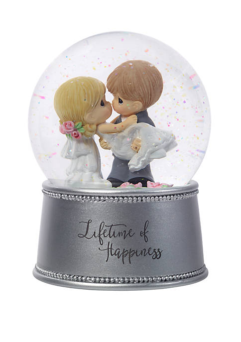 Precious Moments Lifetime Of Happiness Resin/Glass Musical Snow