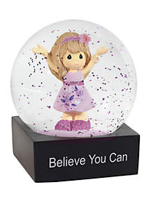Precious Moments Inspirational Girl Resin Believe You Can Snow Globe 182102