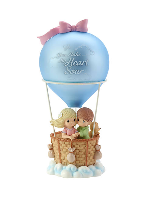 Precious Moments You Make My Heart Soar Resin/Glass Hot Air Balloon Musical Figurine Loving Couple 182406