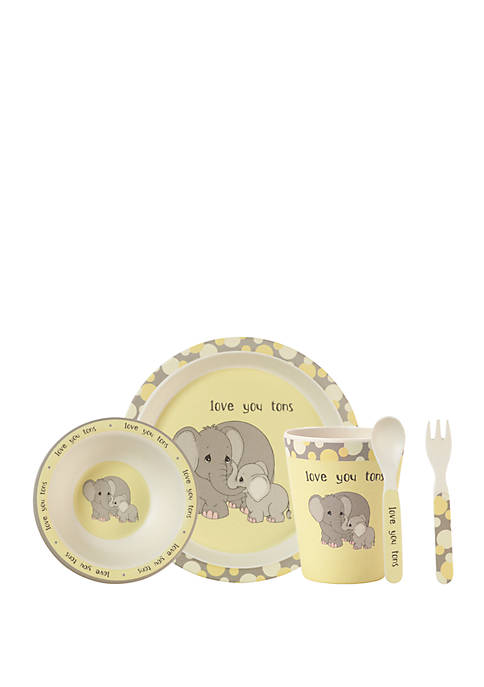 Precious Moments 5 Piece Bamboo Elephant Mealtime Gift