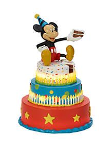 Precious Moments Disney Showcase Mickey Mouse Birthday Cake Resin Mickey's Birthday Wishes LED Tabletop Figurine 182702