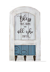 Farmhouse Decor Bless This Home Wood/Metal Wall Plaque With Three Hooks 189915
