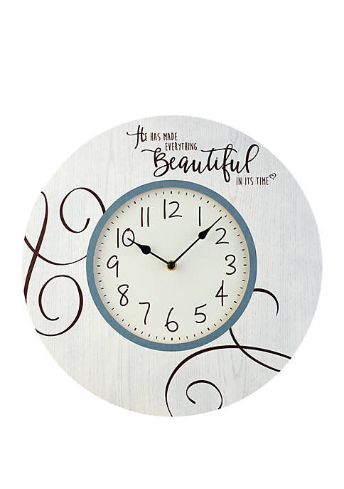 Farmhouse Decor He Has Made Everything Beautiful In Its Time Wood/Metal Wall Clock 189916