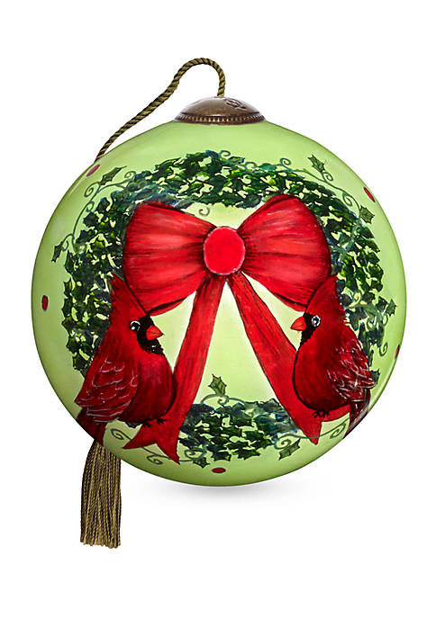 Ne'Qwa Art Hand Painted Glass Merry Christmas Ornament