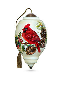 Ne'Qwa Art Hand Painted Glass Christmas Cardinal Ornament