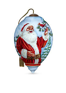 Hand Painted Blown Glass Santa's Feathered Hat Ornament