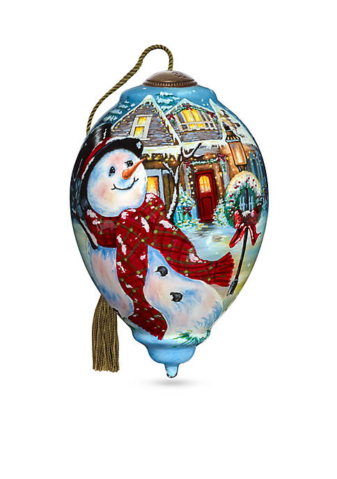 Ne'Qwa Art Hand Painted Glass Old Fashioned Christmas