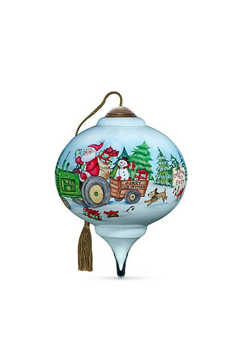 Hand Painted Blown Glass Santas Tree Farm Ornament