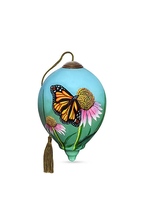 Ne'Qwa Art Hand Painted Blown Glass Monarch Butterfly