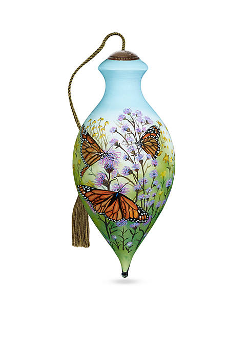 Ne'Qwa Art Hand Painted Glass Monarch Butterflies Ornament