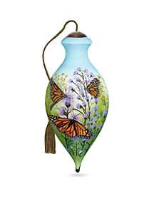 Ne'Qwa Art Hand Painted Glass Monarch Butterflies Ornament