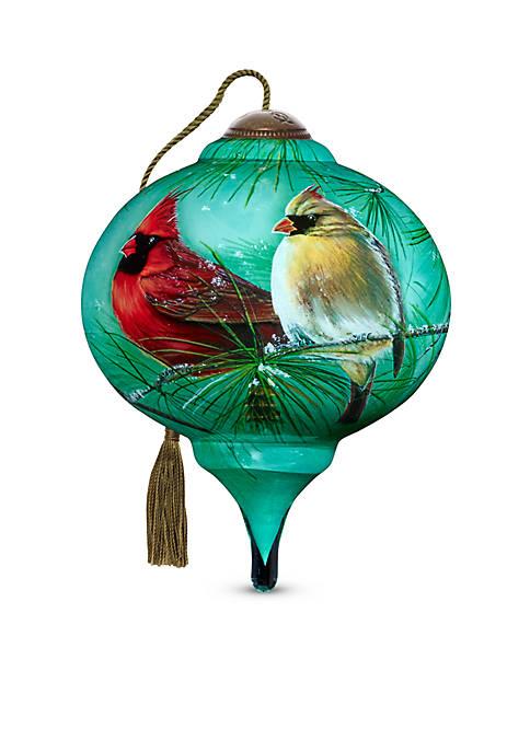 Ne'Qwa Art Hand Painted Glass Cardinals & White