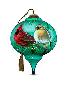 Hand Painted Glass Cardinals & White Pine Ornament