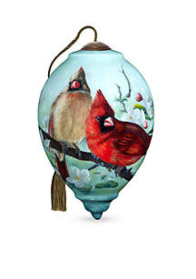 Hand Painted Glass Orchard Cardinals Ornament