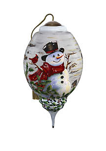 Precious Moments Winter Birch Snowman Ornament
