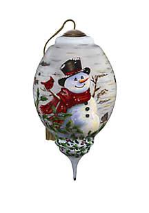 Winter Birch Snowman Ornament