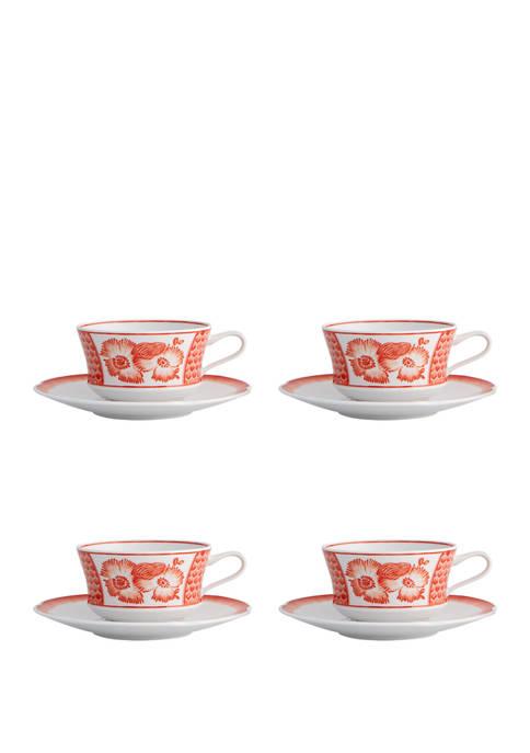 Vista Alegre Coralina Tea Cup and Saucer Set