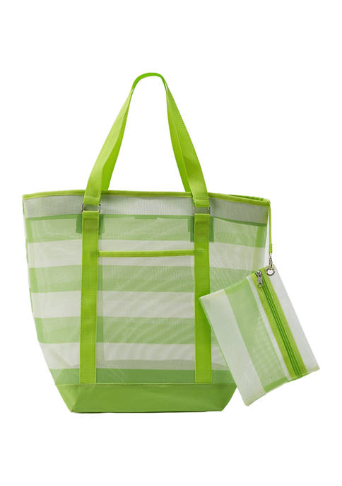 Crown & Ivy™ Stripe Mesh Bag Beach Bag