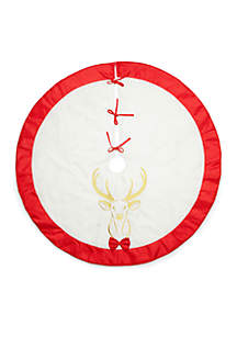Home for the Holidays Bow Tie Buck Tree Skirt