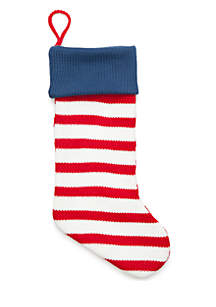 Home for the Holidays Stripe Knit Stocking
