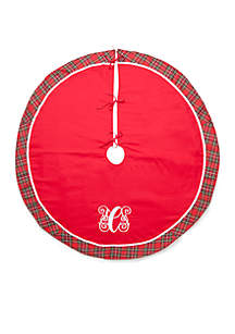 Crown & Ivy™ Home for the Holidays Round Monogrammed Tree Skirt