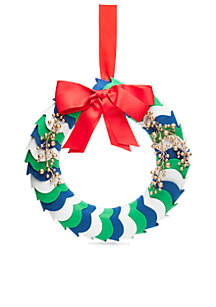 Home for the Holidays Green and Blue Scallop Wreath