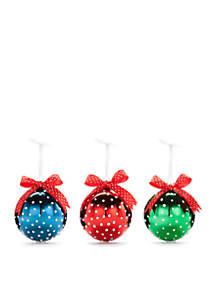 Happy Holidays Set of 3 Green/Red/Blue Polka Dot Bulb Ornaments
