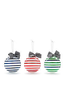 Home for the Holidays Set of 3 Red/Blue/Green Stripe Bulb Ornaments