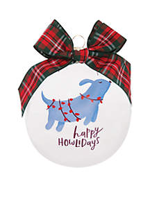 Happy Holidays with Blue Dog Ornament