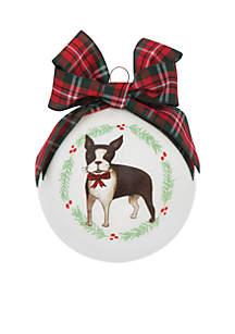 French Bull Dog Glass Ornament