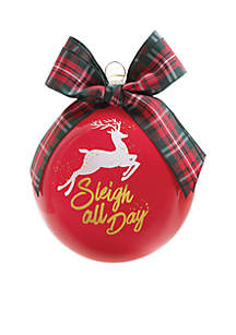 Sleigh All Day Glass Ornament